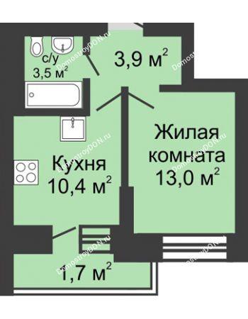 1 комнатная квартира 32,5 м² в ЖК Династия, дом Литер 1