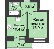 1 комнатная квартира 32,5 м² в ЖК Династия, дом Литер 1 - планировка