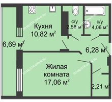 1 комнатная квартира 47,1 м² в ЖК Облака, дом № 1