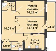 2 комнатная квартира 66,5 м² в ЖК Премиум, дом №1