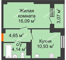 1 комнатная квартира 37,34 м² в ЖК Облака, дом № 2 - планировка