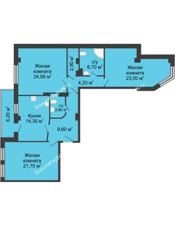 3 комнатная квартира 112,4 м² - ЖК Дом на Береговой