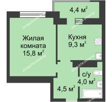 1 комнатная квартира 35,8 м² в ЖК Аквамарин, дом №2