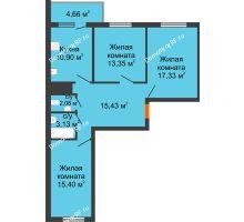 3 комнатная квартира 79,86 м², ЖК Дом у Самолета - планировка
