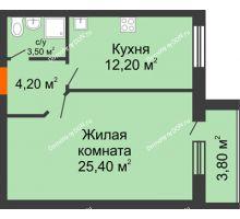 1 комнатная квартира 49,1 м² в ЖК Сиреневый квартал, дом Секция 1 - планировка