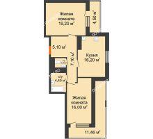 2 комнатная квартира 77,68 м² в ЖК Корица, дом № 1 - планировка