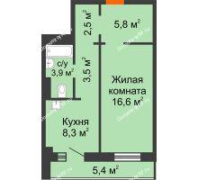 1 комнатная квартира 43,3 м² в ЖК Лесной массив, дом Строение 9 - планировка