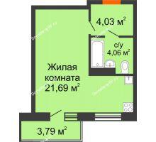 Студия 29,78 м² в ЖК Заречный, дом ГП-49 - планировка