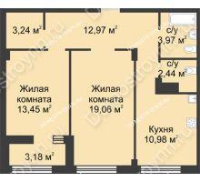 2 комнатная квартира 67,7 м² в ЖК Караваиха, дом № 5 - планировка