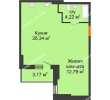 Студия 44,94 м², ЖК Орбита - планировка