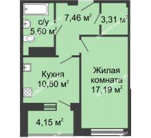 1 комнатная квартира 45,28 м² в ЖК Облака, дом № 1