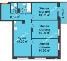 3 комнатная квартира 76,56 м² в ЖК Заречье, дом № 6 - планировка