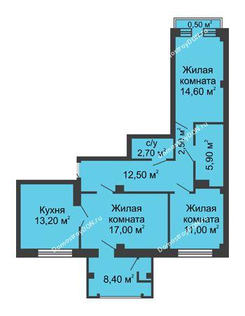 3 комнатная квартира 88,3 м² - ЖК Династия на Соборном
