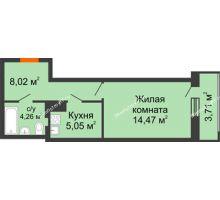 1 комнатная квартира 35,51 м² в ЖК Виктория, дом № 52 - планировка