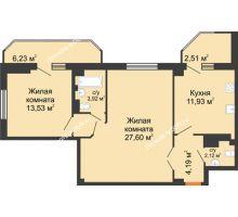 2 комнатная квартира 75,58 м², ЖК Гармония - планировка