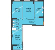 3 комнатная квартира 81,66 м², ЖК Орбита - планировка