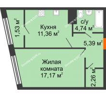 1 комнатная квартира 42,19 м² в Микрорайон Красный Аксай, дом Литер 21