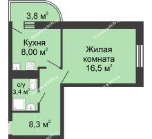 1 комнатная квартира 37,8 м² в ЖК Звезда Столицы, дом Литер 3 - планировка