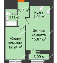 1 комнатная квартира 44,14 м² в ЖК Дом на Набережной, дом № 1 - планировка