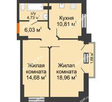 2 комнатная квартира 57,09 м², ЖК Штахановского - планировка