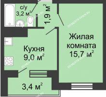 1 комнатная квартира 31,5 м² в ЖК Окский берег, дом №6, Приокская улица