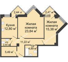 2 комнатная квартира 78,51 м², ЖК С видом на Небо! - планировка