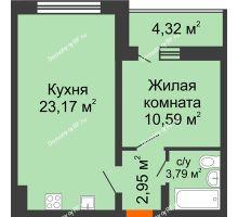 1 комнатная квартира 42,66 м², ЖК Инстеп. Звездный - планировка