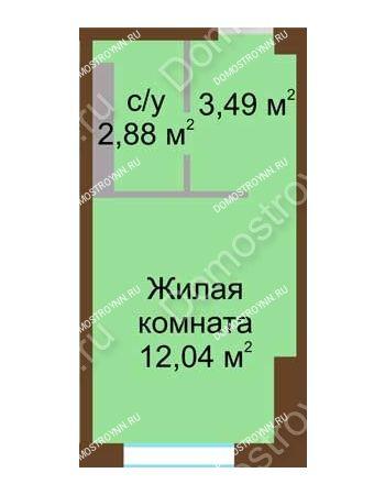 Студия 18,41 м² в ЖК Мой дом на Коломенской, дом № 1