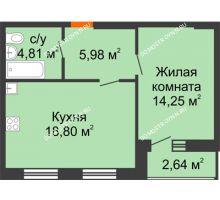 1 комнатная квартира 45,16 м², ЖК На Высоте - планировка