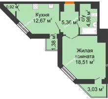 1 комнатная квартира 44,65 м² в ЖК Чернавский, дом 2 этап
