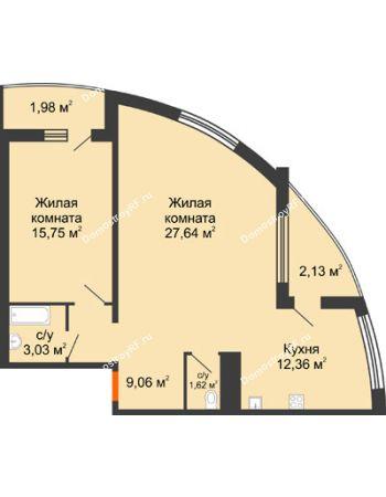 2 комнатная квартира 62,33 м² в ЖК Фамилия, дом Литер 1