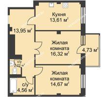 2 комнатная квартира 67,8 м² в ЖК Премиум, дом №1