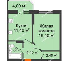 1 комнатная квартира 42,7 м² в ЖК Звездный-2, дом № 4 - планировка