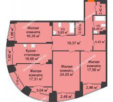 4 комнатная квартира 139,41 м², Клубный дом на Ярославской - планировка
