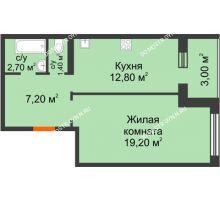 1 комнатная квартира 44,8 м² в ЖК Удачный 2, дом № 1 - планировка