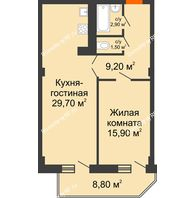 2 комнатная квартира 63,6 м², ЖК Sacco & Vanzetty, 82 (Сакко и Ванцетти, 82) - планировка