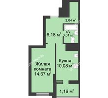 1 комнатная квартира 38,99 м² в ЖК Маленькая страна, дом № 3 - планировка