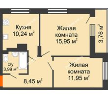 2 комнатная квартира 54,36 м² в ЖК Виктория, дом № 52 - планировка