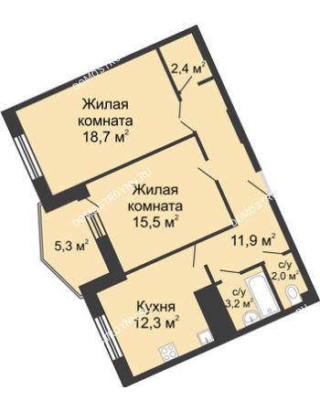 2 комнатная квартира 71,7 м² в ЖК Монолит, дом № 89, корп. 3