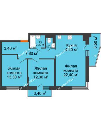 3 комнатная квартира 72,7 м² в ЖК Династия, дом Литер 2