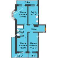3 комнатная квартира 87 м² в Фруктовый квартал Абрикосово, дом Литер 3 - планировка