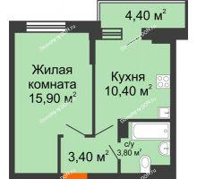 1 комнатная квартира 35,7 м² в ЖК Династия, дом Литер 2 - планировка