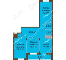3 комнатная квартира 102,1 м² в ЖК Монолит, дом № 89, корп. 1, 2 - планировка