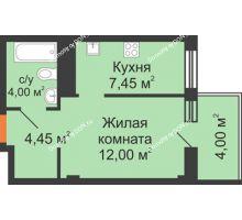 1 комнатная квартира 31,9 м², ЖК Вершина - планировка