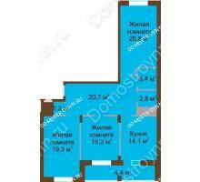 3 комнатная квартира 102 м² в ЖК Монолит, дом № 89, корп. 1, 2 - планировка