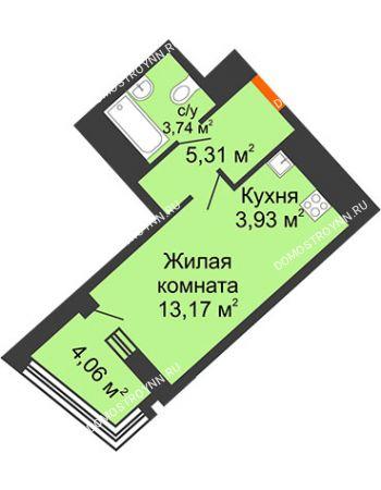 Студия 28,18 м² в ЖК Дом на Набережной, дом № 1