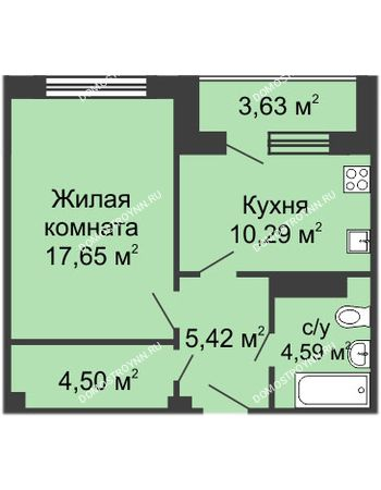 1 комнатная квартира 44,53 м² в ЖК Облака, дом № 1