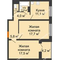 2 комнатная квартира 62,6 м² в ЖК Лазурный, дом 30 позиция - планировка