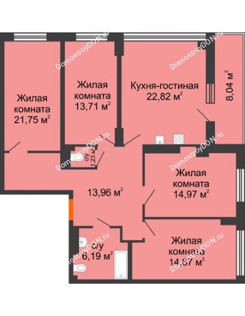4 комнатная квартира 113,33 м² в ЖК Аврора, дом № 3