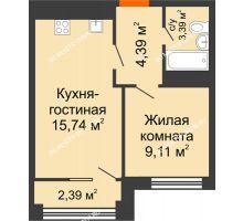 2 комнатная квартира 34,16 м², ЖК Каскад на Менделеева - планировка